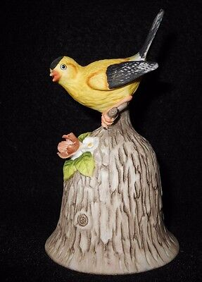 "Towle Fine Bone China Beautiful  ""GOLD FINCH"" Bell with flowers 4.5 x 3 inches"