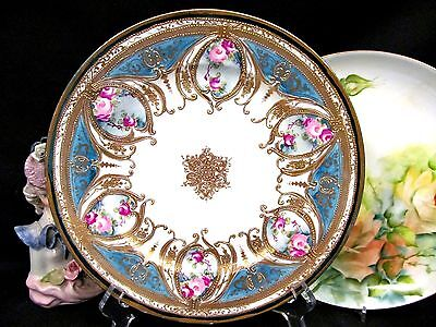 Nippon painted roses raised gold gilt pattern platter charger rose swag design
