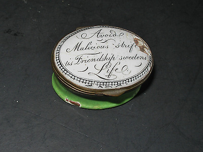 Excellent English South Staffordshire Battersea Enamel Box Mirror on Lid