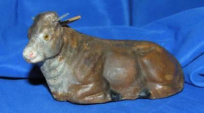 VTG 1920's ANTIQUE GERMAN XMAS NATIVITY FIGURE, BROWN COMPOSITION COW GLASS EYES
