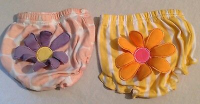 Baby Aspen Bloomers Diaper Covers Peach Polka Dots Yellow Stripe 0-6 Mo Lot Of 2