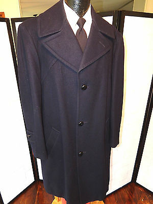 Vtg PENDLETON Men's NAVY BLUE Long Jacket TRENCH 3-BTN WOOL Over TOP Coat 42 R