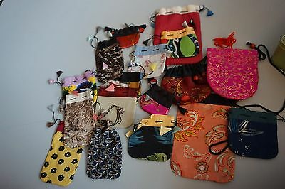 Lot of 18 jewelry pouches ASIAN pattern cloth drawstring bags
