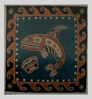 Haida or Tlingit style Orca Whale & Bear mask Decor Silk Scarf framed 20th c.