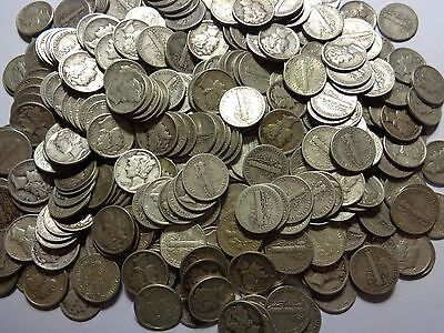 One Roll Of 50 Unchecked Silver Mercury Dimes As Purchased