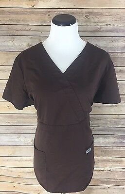 Greys Anatomy Brown Nursing Scrub Top, Size XL