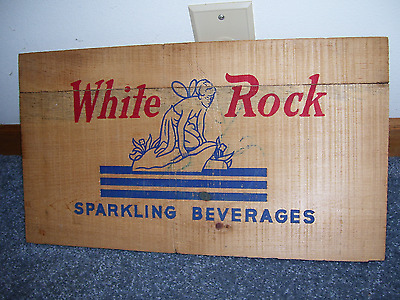 Vtg White Rock Mineral Soda Water Bottle Wood Crate Sign Panel Amazing Shape!!