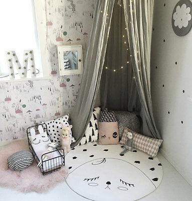 Sleepy Time Monochrome Baby's Play Mat Blanket/ Nursery Decor Scandi Kids Rug