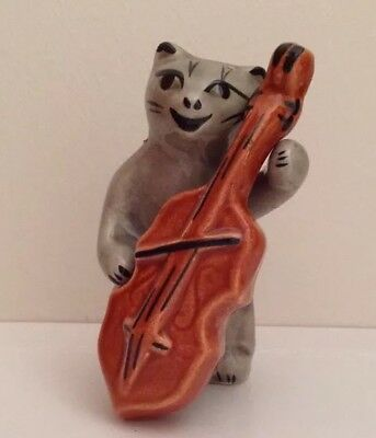 Cat With A Chello Ceramic Salt And Pepper Shakers