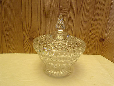 """LAST CHANCE Vintage Anchor Hocking Wexford Covered Candy Dish,+/- 7.5""""H,6.5""""W"""