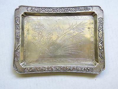 Antique Sterling Chinese Export Highly Decorated Tray Flowers ~Bird~ Bamboo