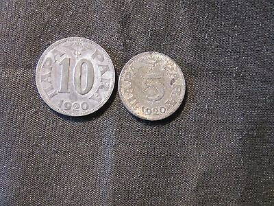 Lot of 2 1920 Yugoslavia Coins - 5 & 10 Para