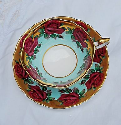 Paragon Cup and Saucer light green & gold w/ light to dark pink roses
