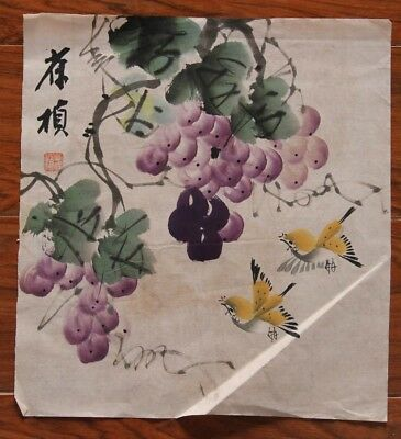 Large Rare Chinese Paper Hand Painting Grapes Birds Signed ShuBaoZhen QA069