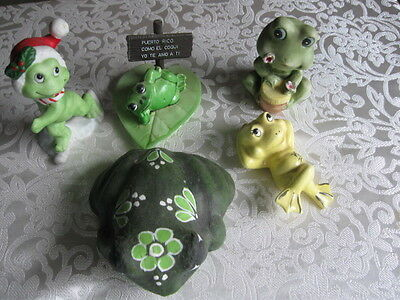 Lot Of 5 Vintage Frogs Bisque Paper Mache Ceramic Marked Hong Kong Japan Lefton
