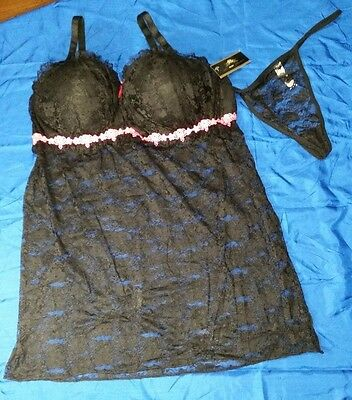 Black and pink padded cup babydoll lingerie w/matching thong. Size: 3X. NWT