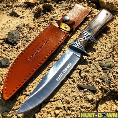 "Black + Brown 12"" COMBAT TACTICAL Hunt Down Fixed Blade Knife Survival Hunting"