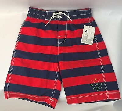 Gap Boys Swim Red and Blue Striped Swim Trunks NWT sz. L 10