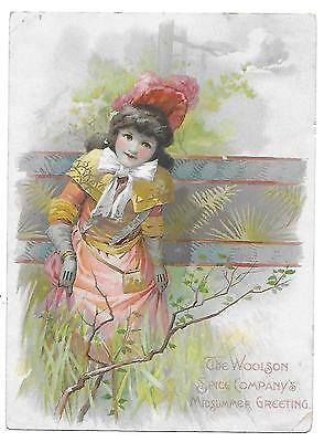 Victorian  Trade Card; Lion Coffee, Woolson Spice Co., Toledo, Ohio, Girl Dress