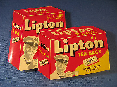 1950's VINTAGE ADVERTISING LIPTON TEA BAGS NEEDLE BOOK WEST GERMANY   (F1)