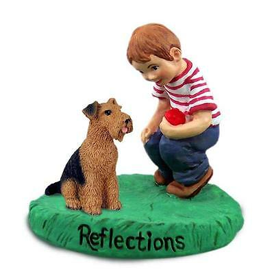 Airedale Terrier Reflections with Boy Handcast & Handpainted Figurine