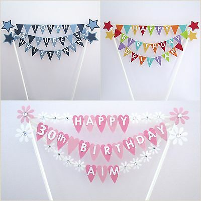 Handmade Personalised Cake Topper.   Bunting.  Various Designs. Any Name/Colour