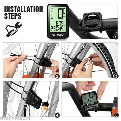 Enkeeo Wireless Bike Computer Trip Time/ Distance Recording Odometer for Cycling