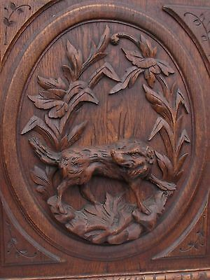 Tall French Antique Carved Panel/Door in oak Wood hunting dog (setter ?)19th.c