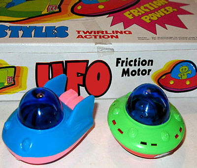 Vintage UFO FRICTION TOY S (Lot of 12) MINT in RETAIL DISPLAY BOX! So Cool Look!