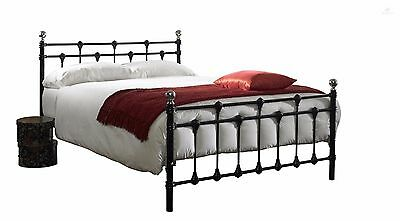 Vintage Bed Frame Double 4FT6 Black Metal Country Chic Bedroom Furniture Sturdy