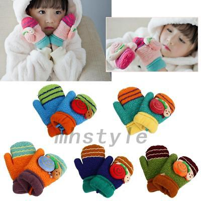 Lovely Snails Winter Warm Toddlers Girls Boys Baby Kids Knitting Gloves Mittens