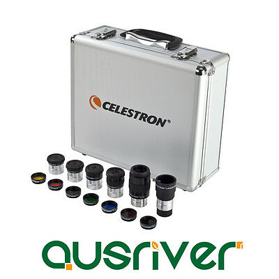 "Celestron 1.25"" Eyepiece & Filter Kit 14 Accessories Barlow Lens Filters 94303"
