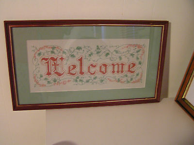 Dark red framed and green mounted completed cross stitch needlepoint - WELCOME