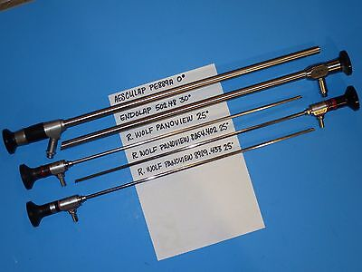 Lot of 5 Endoscopes: R. WOLF PANOVIEW 25°  ENDOLAP 30° AESCULAP 0°