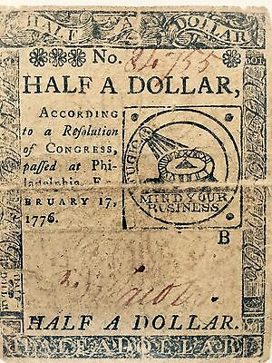 Continental Currency HALF A DOLLAR PHILADELPHIA February 1776 Signed BEN JACOBS