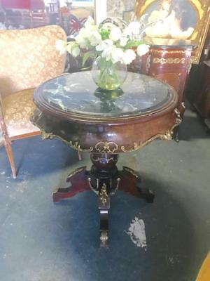 Large French Louis Xv Style Mahogany Side / Hall Table With Marble And Ormolus