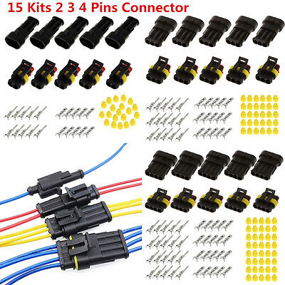 Universal 15 Kits 2 3 4 Pin Way Electrical Wire Connector Plug Sealed Waterproof