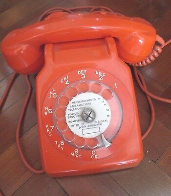 VINTAGE FRENCH 60s 70s ORANGE HOME PHONE