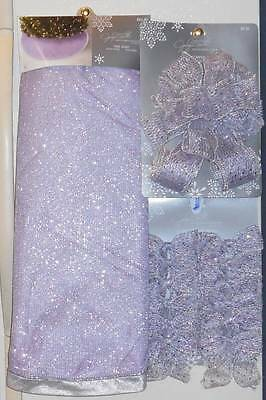 """Tree Skirt 52""""Light Purple Sparkling Silver & Tree Topper Bow & Bows~MFRS $39.97"""