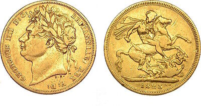 George IV 1823  Sovereign Rare  ®1076