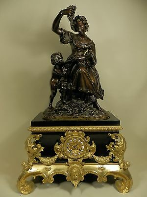 Large Antique French Figural marble Clock with bronze Allegorical group ca 1840