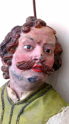 Wow...Great ,Antique,French Victorian,doll, wood,glass eyes,1850's,moustache,19""
