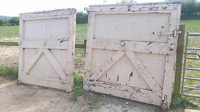 Old Antique Oak Gates Painted Victorian Pair Solid Cast Hinges Wheels Latches