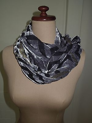 Vintage Velvet Burnout Scarf, Devore, Grey, Enrico Coveri, Great Condition