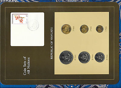 Coin Sets of All Nations Vanuatu all 1983 UNC w/card 50, 20, 10, 5, 2, 1 Vatu
