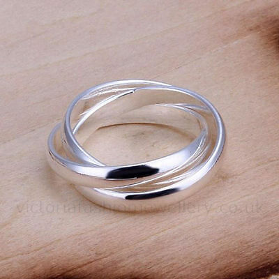 925 Sterling Silver Plated Triple Band  Thumb Finger  Ring Size N (Uk), 7 (Us)