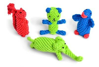 Dog Toy Rope Character - Penguin, Teddy, Squirrel, Elephant, Puppy, By PetFace