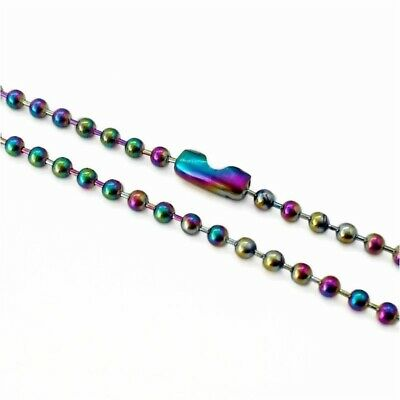 1 x Stainless Steel 60cm Ball Chain Necklace 2.4mm Colourful Rainbow
