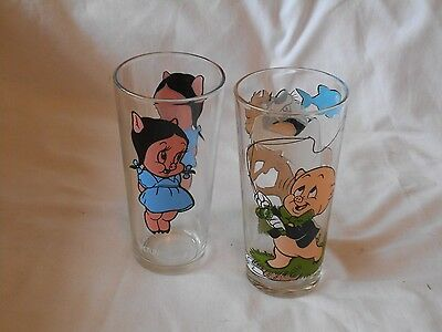 Pepsi Collector Series Glasses    1970's    Porky    Petunia    Taz    Lot Of 2