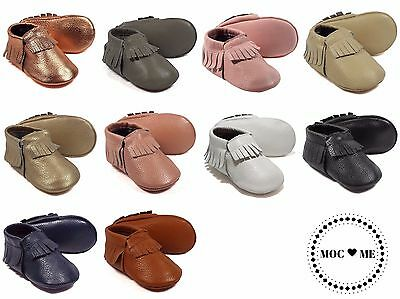 Genuine Leather Baby Moccasin Shoes - 10 Colours - 4 Sizes - UK Seller  UK Stock